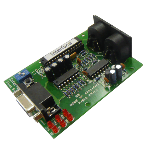 The Interface is a module to interconnect a Selectrix-controlled model railway layout and a computer using the RS-232 interface. Four different interface transferrates (up to 57600 Baud) are available.