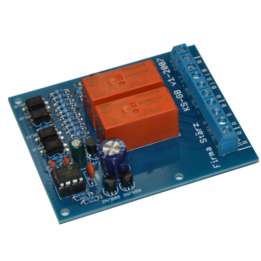 The Reverse Loop Module KS-GB is a device for adjusting polarity of model railway reverse loops automatically. The module monitors sensor track blocks and switches the polarity of the reverse loop accordingly.