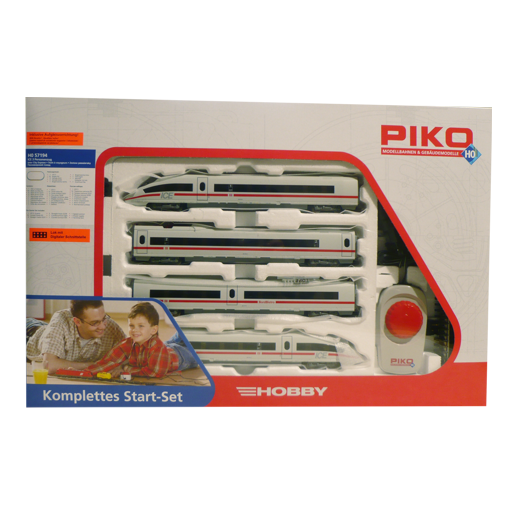 This PIKO H0 Start-Set contains an ICE 3 with 2 power cars and 2 passenger coaches and accessories.