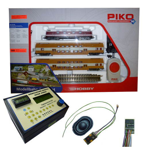 This Digital Start-Set H0 contains the PIKO Start-Set BR 118 with 2 double deck coaches, the Digital Central Unit ZS2 with track current display and a 1.5 A locomotive decoder DH16-3 inclusive loco sound. We recommend an additoinal transformer.