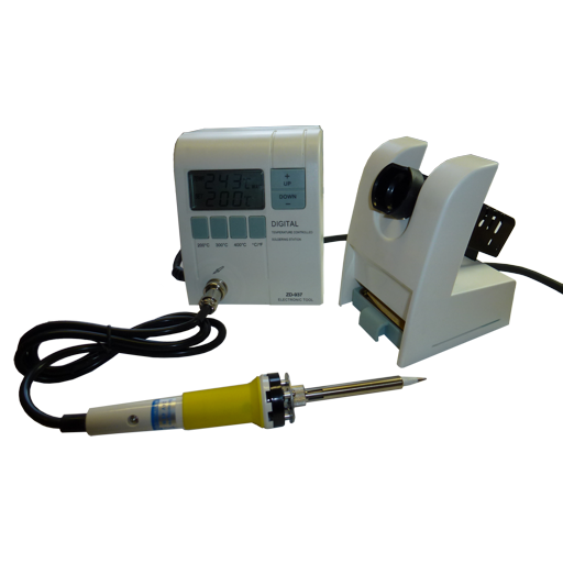 It is a digital soldering station with external soldering iron holder, an LCD and can be adjusted to soldering temperatures between 150°C and 450°C. A sponge as well as a soldering tip N1-16 are included.